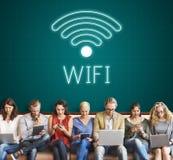 Concepto en línea del icono de la comunicación de Wifi de la red fotos de archivo libres de regalías