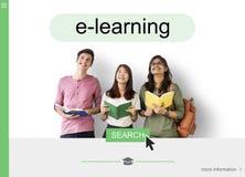 Concepto en línea del interfaz de la búsqueda del aprendizaje a distancia Imagen de archivo libre de regalías