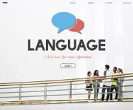 Concepto en línea del interfaz del aprendizaje de idiomas Foto de archivo
