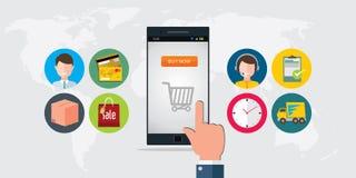 Concepto en línea del móvil del comercio electrónico de las compras Foto de archivo
