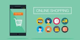 Concepto en línea del móvil del comercio electrónico de las compras Imagen de archivo