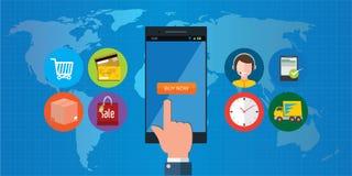 Concepto en línea del móvil del comercio electrónico de las compras Imagen de archivo libre de regalías