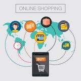 Concepto en línea del móvil del comercio electrónico de las compras Foto de archivo libre de regalías