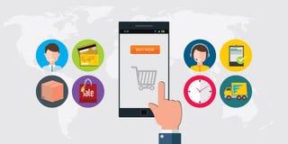 Concepto en línea del móvil del comercio electrónico de las compras Imágenes de archivo libres de regalías