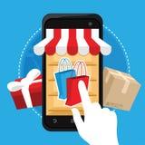 Concepto en línea del móvil del comercio electrónico de las compras Imagenes de archivo