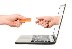 Concepto en línea del pago Foto de archivo libre de regalías