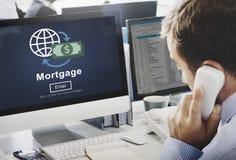 Concepto en línea del sitio web de las finanzas de deuda del pago de hipoteca imagen de archivo
