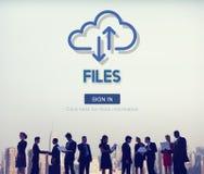 Concepto en línea del sitio web de los activos de Digitaces de los documentos de los ficheros foto de archivo