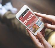 Concepto en línea del sitio web del artículo del viaje del hoja informativa imágenes de archivo libres de regalías