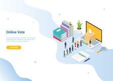 Concepto en línea isométrico del voto 3d con la gente hecha cola para arriba para la plantilla de la página web o el homepage de  stock de ilustración