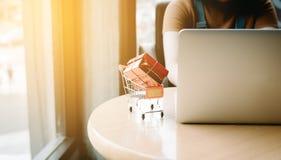 Concepto en línea que hace compras con la mujer que usa el ordenador portátil para el onl que hace compras Fotografía de archivo libre de regalías