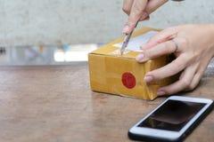 Concepto en línea que hace compras Mujeres que están desempaquetando el ordere de los productos imágenes de archivo libres de regalías