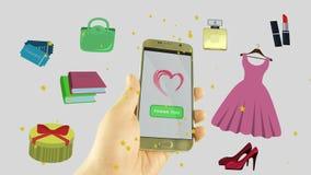 Concepto en línea que hace compras Tienda en línea de la orden de la compra del hombre o de la mujer del teléfono Aislado en el f