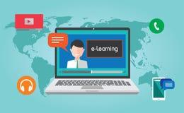 Concepto en línea webinar de la educación del aprendizaje electrónico Fotos de archivo libres de regalías