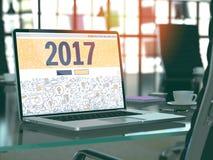 2017 - Concepto en la pantalla del ordenador portátil 3d Imagen de archivo libre de regalías