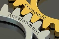 Concepto en las ruedas dentadas, del desarrollo económico representación 3D ilustración del vector