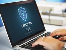 Concepto en línea cifrado de la protección de seguridad de la privacidad de datos Fotos de archivo