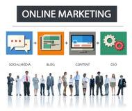 Concepto en línea de la blanco de la estrategia del contenido del negocio del márketing Imagen de archivo libre de regalías