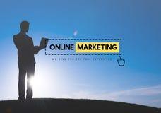 Concepto en línea de la promoción de la blanco de la estrategia del anuncio del márketing Imagen de archivo