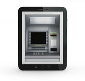 Concepto en línea de los pagos Tablet PC con la atmósfera y la tarjeta de crédito Imagen de archivo