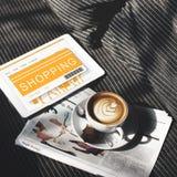 Concepto en línea de Shopaholics del comprador de la venta que hace compras Fotos de archivo libres de regalías