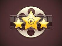 Concepto en línea del logotipo del icono del cine con la película Foto de archivo