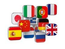 Concepto en línea del traductor del translationor de las idiomas Aislante de las banderas Foto de archivo libre de regalías