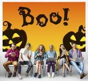 Concepto espeluznante fantasmagórico de la calabaza de la invitación del truco de Halloween Imagen de archivo