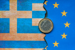 Concepto euro griego de la bandera Foto de archivo libre de regalías
