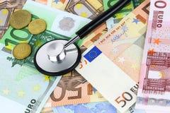 Concepto europeo del enfermo de la moneda Fotos de archivo