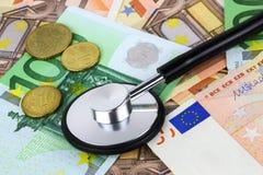 Concepto europeo del enfermo de la moneda Fotografía de archivo