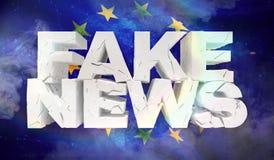 Concepto falso de las noticias Textura de la tela de la bandera de la unión europea stock de ilustración