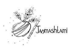 Concepto feliz de Krishna Janmashtami Cartel, bandera, tarjeta Ejemplo blanco y negro dibujado mano del vector Estilo del bosquej Imagen de archivo libre de regalías