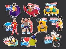 Concepto feliz de la celebración del día del ` s del padre con las etiquetas engomadas para el ` del padre ilustración del vector