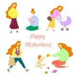 Concepto feliz de la maternidad Situaciones diarias a partir de la vida de mamáes jovenes stock de ilustración