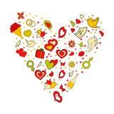 Concepto feliz del día de tarjeta del día de San Valentín Garabato dibujado mano del vector de la historieta en forma del corazón Fotos de archivo libres de regalías