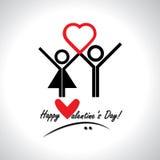 Concepto feliz del vector de la tarjeta de felicitación del día de tarjeta del día de San Valentín Imagenes de archivo
