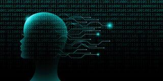 Concepto femenino de la tecnología de inteligencia artificial con código binario ilustración del vector