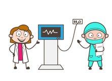 Concepto femenino del vector de Showing Patient Heartbeat del doctor y del cardiólogo de la historieta Imagen de archivo libre de regalías