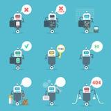 Concepto fijado iconos modernos de la tecnología de inteligencia artificial del Bot de la charla de los robots Foto de archivo