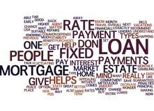 Concepto fijo de la nube de la palabra del fondo del texto de la hipoteca de Rate Mortgage Vs Adjustable Rate Foto de archivo
