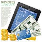 Concepto financiero con la PC de la tablilla, dólares, monedas stock de ilustración