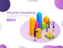 Concepto financiero de la consulta, providi miniatura del consultor de la señora ilustración del vector