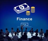 Concepto financiero de la economía del efectivo del dinero de las finanzas Imágenes de archivo libres de regalías