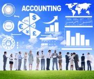Concepto financiero de la economía del negocio bancario del análisis de contabilidad Imágenes de archivo libres de regalías