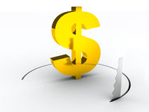 Concepto financiero de los crisys del dólar Imágenes de archivo libres de regalías
