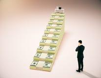 Concepto financiero del crecimiento con el lugar de trabajo Fotografía de archivo libre de regalías