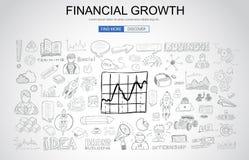 Concepto financiero del crecimiento con estilo del diseño del garabato del negocio Foto de archivo libre de regalías