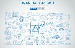 Concepto financiero del crecimiento con estilo del diseño del garabato del negocio: onli Foto de archivo libre de regalías