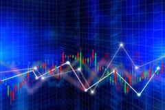 Concepto financiero del negocio con el gráfico del palillo de la vela Imágenes de archivo libres de regalías